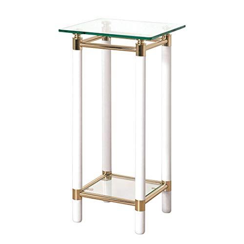 Haku-Möbel 42334 Konsole 35 x 35 x 74 cm, weiß/vergoldet -