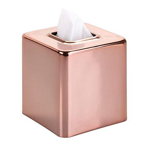 mDesign Fundas para cajas de pañuelos de metal - Práctico dispensador de pañuelos para el baño o la oficina - Modernas cajas para pañuelos de papel ideales como fundas - dorado rojizo