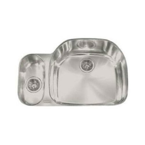 Franke PCX160 Prestige Classic 32-Inch Offset to the Right Double Bowl Undermount Kitchen Sink by Franke -