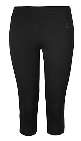 Womens Leggings Ladies Crop Capri Pants Brody & Co 3/4 Gym Cropped Leggins Dance Yoga (L/XL, Black)