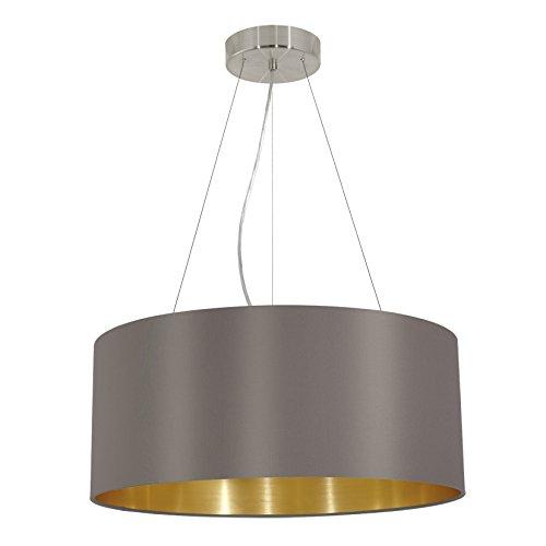 EGLO 31608 Hängeleuchte Maserlo, Durchmesser 53 cm, Stahl, cappucino gold Schirm, nickel-matt
