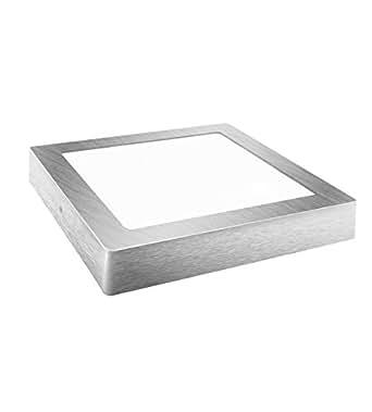 DavledPlafonnier LED carré plat lumière froide 1800lumens Argenté 18W 230mm