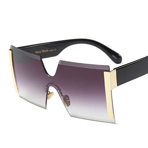 YLNJYJ Rimless Oversized Square Women Sunglasses Big Eyewear Vintage Overstate Fashion Punk Eyeglasses Men Sun Glasses