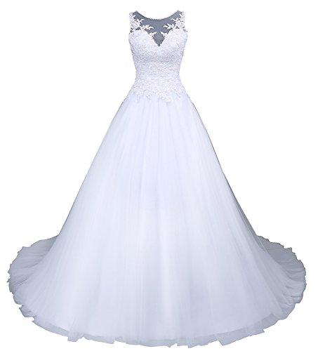 Romantic-Fashion Brautkleid Hochzeitskleid Weiß Modell W045 A-Linie Satin Stickerei Perlen...
