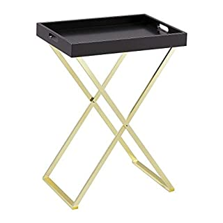 ASPECT Hotel Style Hopkins Foldable Detachable Butler Table/Serving Tray(Black/Matt Brass), Wood 54 x 38 x 72 cm