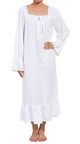 Lalander Elegant Damen Nachthemd Schlafanzüge Nachtwäsche Sleepwear Langarm Schlafanzug mit Spitze