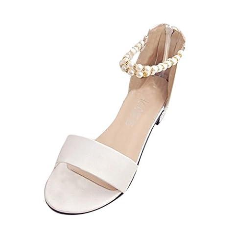 Sandales Femmes,Angelof Femmes Soft Flat Shoes String PerléE BohèMe Ladys Sandales éLastiques Peep-Toe Chaussures De Plein Air (38,