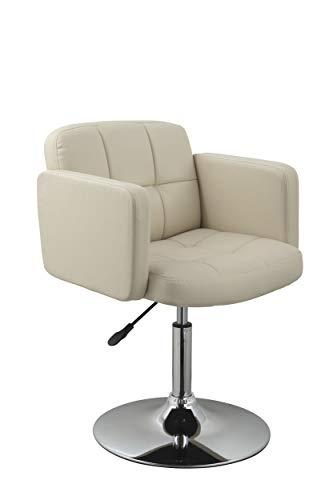 Duhome Elegant Lifestyle Clubsessel Sessel Kunstleder Creme Esszimmerstuhl Lounge Sessel höhenverstellbar drehbar Farbauswahl - Typ 524A
