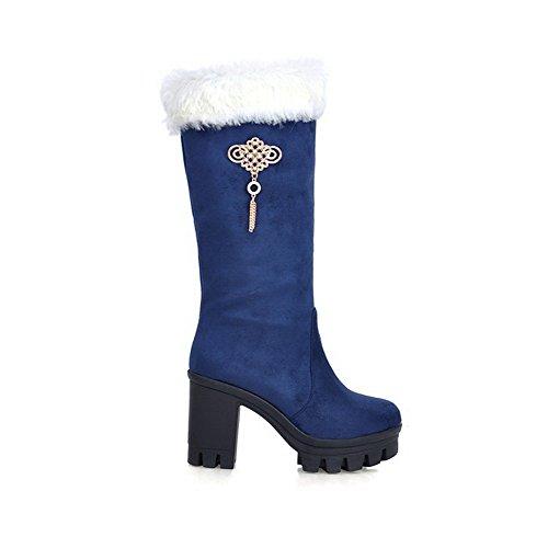 VogueZone009 Damen Mattglasbirne Hoher Absatz Mitte-Spitze Stiefel Blau