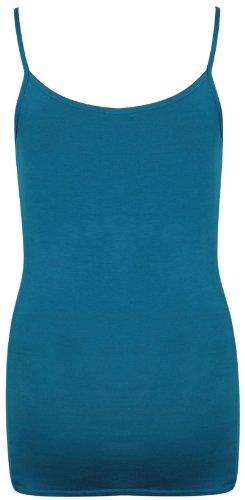 Femmes Uni Sans Manche Femme Extensible Rond Encolure Ronde Camisole Long À Lanières Débardeur Grande Taille Sarcelle