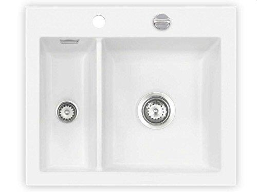 Systemceram Mera 60 Polar Keramik-Spüle Excenterbetätigung Weiß matt Spüle