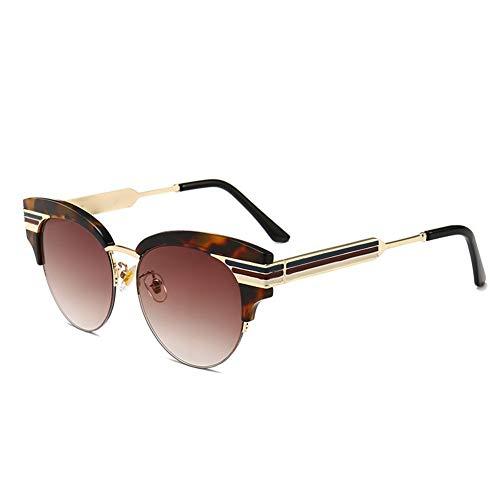 BFQCBFSG Europäische Und Amerikanische Mode Persönlichkeit Dicke Schnüre Runde Angelschnur Hängende Sonnenbrille Streifen Street Beat Trend Urlaub Mode Runde Sonnenbrille, Braun