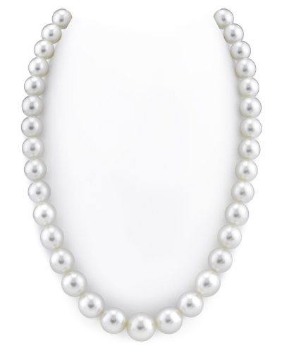 "10-13mm White South Sea Cultured Pearl Necklace - AAAA Quality, 20"" Matinee Length, 14K Gold Clasp"