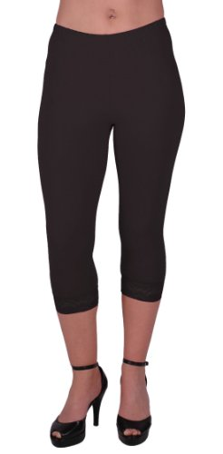 Cropped Madonna 80s Style Leggings with Lace Detail in Black