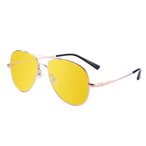 HAOHAOWU Retro treibende Sonnenbrille, treibender Glasrahmen ultraleichte Nacht- und Tag-Vision polarisiertes treibendes Fischen im Freien,Yellow