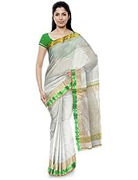 Mujaffara Ansari Maheshwar Cotton and Silk Saree (White)