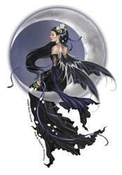 nene-thomas-raven-haired-fairy-sits-on-crescent-moon-etiqueta-sticker-4-x-55-weather-resistant-long-
