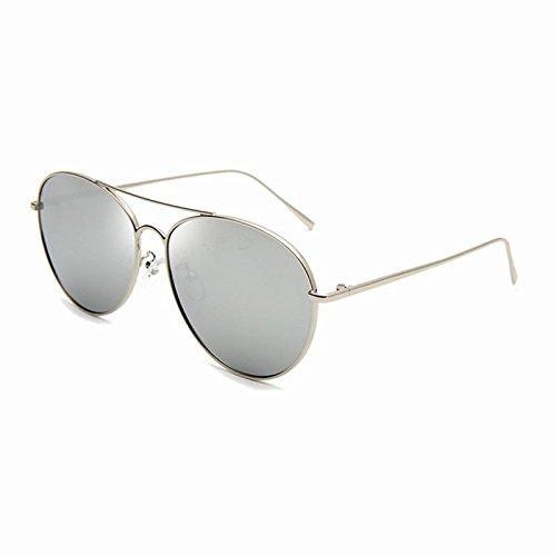 Weißen Seiten Mit Sonnenbrille (SCGHRC Retro gelb transparent weibliche Sonnenbrille UVSchutz Sonnenbrille Männer runde Gesicht hohe Glanz und, S)