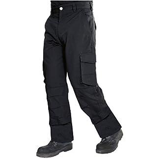 ProLuxe Pantalones Resistentes de Tejido Ripstop, de Tipo Cargo, Combate, con Bolsillo con Cremallera de Seguridad y Bolsillos para Rodillera – 42 Regular – Negro (