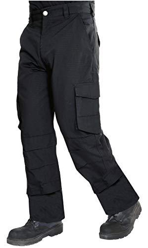Proluxe - Endurance - Pantalon Cargo de Travail et de sécurité - Antidéchirure - Poche de sécurité zippée et Poches à genouillères - 42 Ordinaire - Noir