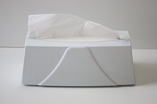 CleanSV© Tisch Papierhandtuchspender weiss für ca. 120 Tücher ZZ zum hinstellen, Papierentnahme nach oben, incl. 200 Blatt 2 lagiges hochweisses Zellstoff Papierhandtücher