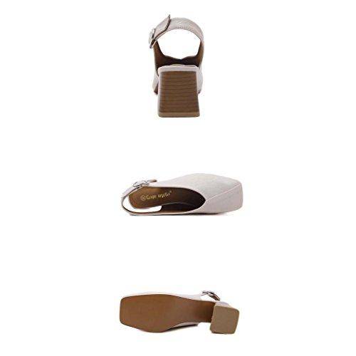 SHEO sandales à talons hauts Boucle latérale des dames avec épaisse avec les sandales Baotou ( Couleur : Blanc , taille : 38 ) Blanc