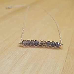 Blue Iolite Roundel Perlen Bar Halskette Sterling Silber Kette September Geburtstag Schmuck