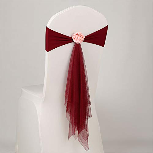 GLITZFAS 10 Organza Hochzeit Stuhl zurück Dekoration Bogen Schleife Schärpen Stuhlschärpen Stuhlhussen Bankett Party Band Events Supplies (Weinrot) (Hochzeiten Für Stuhl Bögen)