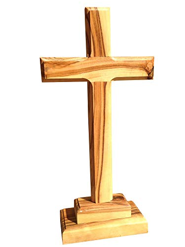 Motivationsgeschenke Stehkreuz aus Olivenholz Jerusalem 28 cm Tischkreuz Versehkreuz