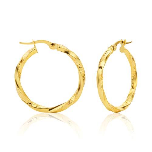 14 Karat 585 Gold Gedrehte Griechische Schlüssel Hochglanz Ohrringe Creolen