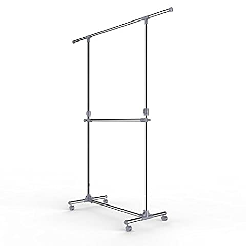Songmics Adjustable Height Garment Rack Clothes Hanging Rail Stand with
