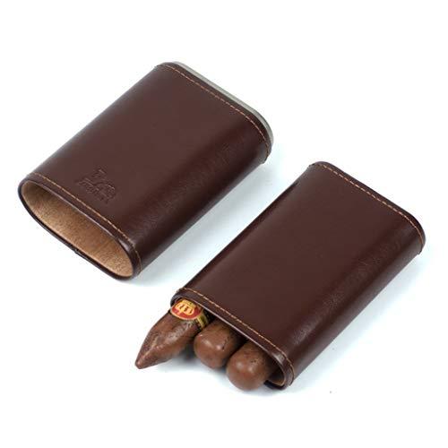 XYLLL Zigarren Humidor Zigarre Fall Leder Zigarre Reise Fall Halten 3 Rohr Reise Zedernholz Ausgekleidet 3 Finger Halter Kabinett Mit Zigarrenschneider Größe: 135 * 80 * 36 Mm (5,3 * 3,1 * 1,4 Zoll)