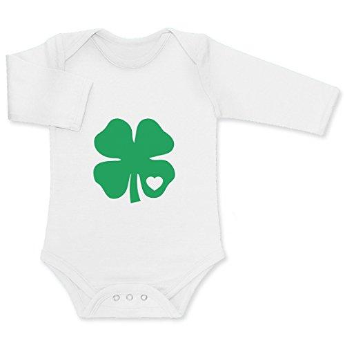 Baby St. Patrick's Day Grünes Kleeblatt mit Herz Baby Langarm Body 0 - 3 months Weiß