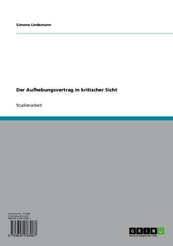 Der Aufhebungsvertrag In Kritischer Sicht Ebook Simone Lindemann
