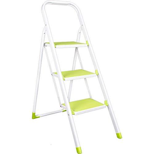 Green 3 Step Ladder - Échelle Pliante multifonctionnelle Portable, ne Se Pliant Pas, pédale élargie et épaissie