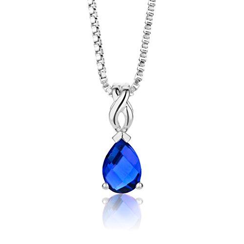 Byjoy Damen-Kette Mit Anhänger 925 Sterling- Silber Tropfenschliff Blau Saphir 45cm (Herren Blau Saphir Anhänger)
