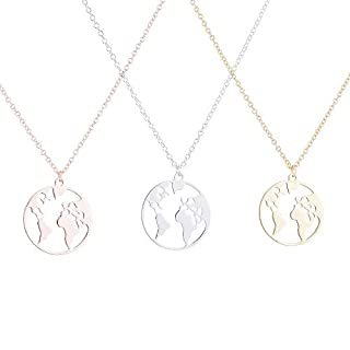 Alxcio 3 PCS Women Necklace with World Map Pendant Globe Fashion Vintage Geometric Round Map Necklace Jewelry Birthday Gift (Gold+Silver+Rose Gold)