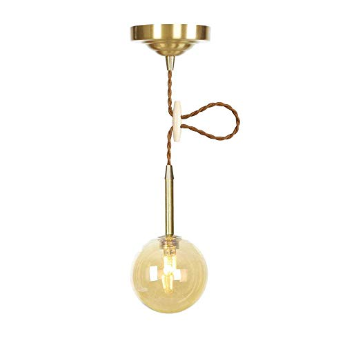 Postmodern Glass Ball Small Pendant Lights Amber/Transparent Lampshades Chandelier LED Industrial Interior Decoration Lighting Fixture for Dining Kitchen Loft,Amber -