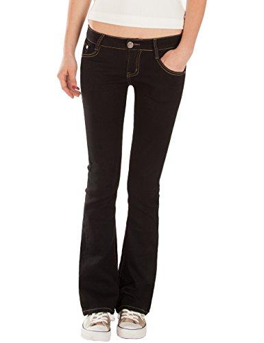 Fraternel Damen Jeans Hosen Bootcut Hüftjeans Schlaghose Schwarz XS / 34 - W27 -