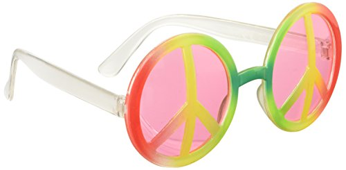 Rainbow Coloured Hippie Glasses with CND Symbol.