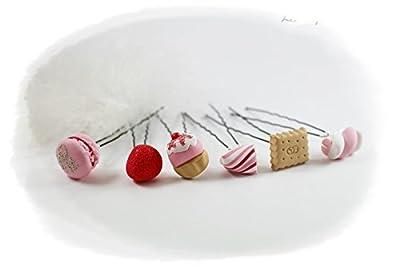 Lot de 6 pics à chignon gourmandise gâteaux et bonbons rose et gris