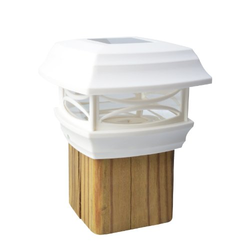 Moonrays 91254 Solar-Powered Post Cap LED Light for Wooden 4 x 4 Posts, White by Moonrays - Solar Powered Post Caps