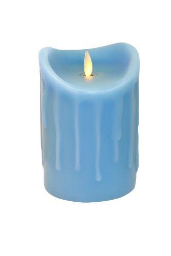 Tronje 14cm Blau LED Echtwachskerze LED Kerze mit Timer D: 9cm bewegter beleuchteter Docht ca. 800 Std. Leuchtdauer