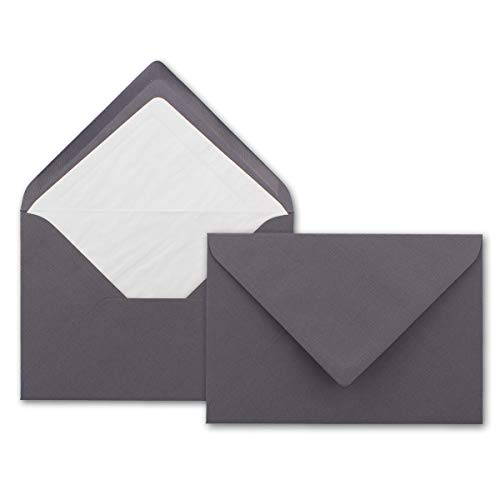 Kuverts in Granit-Grau 50 Stück Brief-Umschläge in DIN B6-12,5 x 17,6 cm Geripptes Papier - hochwertiges Seidenfutter für Weihnachten & Festliche Anlässe