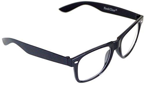 Wayfarer Style Hornbrille ohne Stärke Nerd Brille Schwarz Atzenbrille UV 400