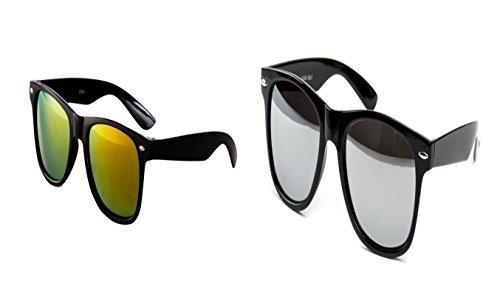 2 er Set Nerd Sonnenbrille Nerd Brille Feuer verspiegelt Schwarz + Silber