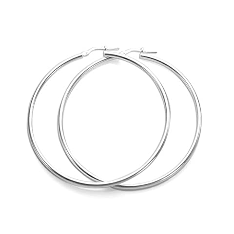 Sterling Silver Plain 2mm Round Hoops Sleeper Earring | Size - 50mm