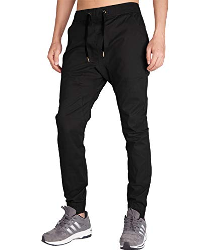 Italy Morn Herren Chino Jogging Hose Casual Stoff Hose Chinohose Sporthose Slim Fit S Schwarz Casual-china