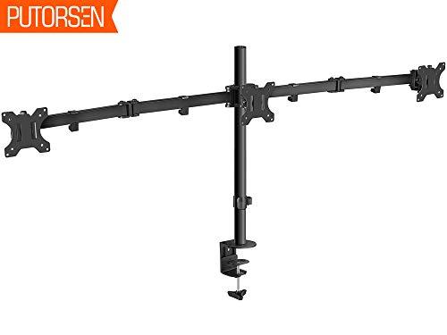 """PUTORSEN® Monitor Tischhalterung für 3 Monitore 13""""-27""""(33-68cm) LCD LED TV Bildschirme Flachbildschirm, Belastbarkeit: 7 kg/pro Monitor, neigbar 180°, schwenkbar 360°, höhenverstellbar"""