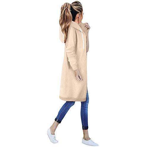 Damen Langarm Hooded Hoodies Jumper Warm Cardigan Zip up Jacke Sweatshirt Oversized Lange Coat von Innerternet